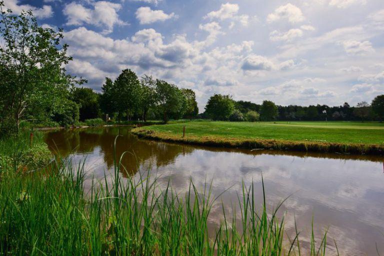 Golfplatz Grün mit Wasserbunker davor.